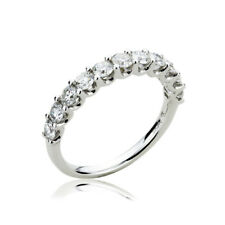 3mm 18K White Gold Wedding Band Stackable 1 cttw Diamond Anniversary Ring