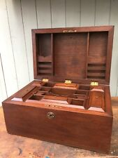 Antique Wooden Work Box Secret Compartments  Sewing Chest Trinket Jewellery Tool