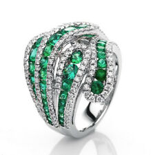 Fashion Emerald 925 Silver Women Jewelry Wedding Engagement Cocktail Ring Sz5-10