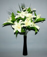 WHITE TIGER  LILY  ARTIFICIAL FLOWER ARRANGEMENT SPRAY IN BLACK VASE- DISPLAY.