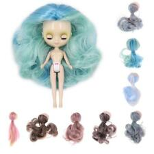 Doll Wig Gradient Curly Hair with Head Scalp Kit for Petite Blythe Pullip Custom