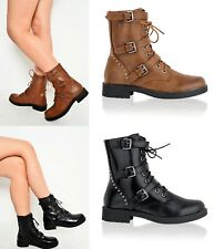 Ladies Army Military Ankle Boots Womens Biker Combat Lace Up Flat Low Heel Shoes