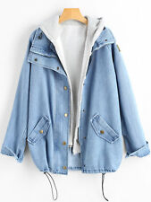 Hooded Womens Boyfriend Oversize Loose Jacket Casual Denim Jeans Coat Outwear