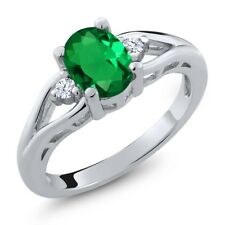 1.08 Ct Oval Green Nano Emerald White Created Sapphire 925 Sterling Silver Ring