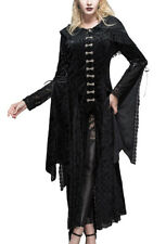 Jacket dress velvet black hooded and arabesques, elegant goth Devil Fashio