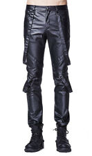 Black pants fake leather man with webbing/ straps gothic rock punk rave