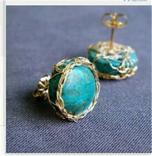 New 18K Gold Plated Turquoise Earrings Ear Stud Women Wedding Party Jewelry Gift