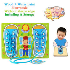 Funny Baby Wooden Learn Tie Shoe Laces Intelligent Life Skills Gaining Kid Toys