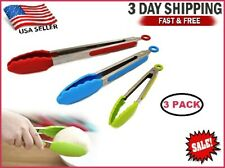 3 Stainless Steel Kitchen Tongs Food Serving BBQ Cooking Non-Stick Silicone Tip