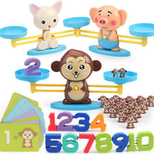 Montessori Math Match Game Board Toys Monkey Puppy Balancing Scale Number