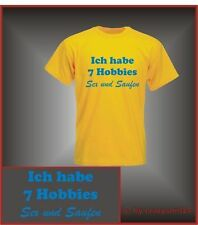 Funshirt 7 Hobbies, Sex und Saufen Party  Shirt S-XXL