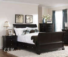 INGLEWOOD RICH CHERRY WOOD QUEEN or KING BED W/ DRAWERS