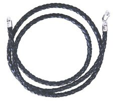 Braided Twist Rope Black Leather Cord Chain Necklace