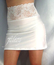 WHITE HIGH WAISTED LACE TOP SPANDEX MINI SKIRT XS-XXXL