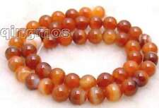 "8mm Round Red stripe agate loose Beads strand 15""-l346"