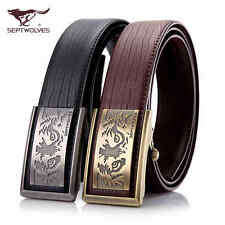 """NWT Men's Style Belt Genuine Leather Fashion Black/Brown Wolf Totem 30""""-50"""""""