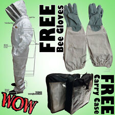 Beekeeping Pest Control Animal Handling Bee Suit Fence Veil and FREE Bee Gloves
