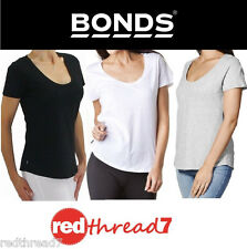 BONDS Womens Short Sleeve Relax Scoop Cotton Tshirt Top Tee Black White Grey Sz