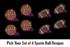 SET OF 4 BALL SPORTS RHINESTONE IRON ON TRANSFER HOTFIX