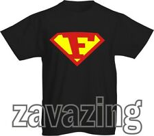 SUPERMAN LOGO INITIAL 'F' T-SHIRT HERO FANCY DRESS GIFT