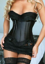 QUALITY BLACK SATIN CORSET SET WITH MATCHING SKIRT & THONG BASQUE CORSETS BONED