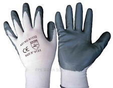 12 Pairs PWS Nylon Nitrile Coated New Safety Work Gloves Garden Grip Mens Site