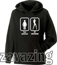 YOUR GIRLFRIEND VS MY GIRLFRIEND BLACK HOODIE HOODY HOT SEXY GIRLFRIEND FUNNY