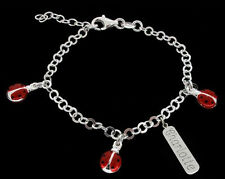 STERLING SILVER BABY CHILDS PERSONALISED ANY NAME LADYBIRD CHARM CHAIN BRACELET