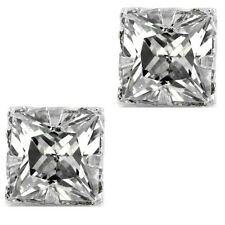 Square Princess Cut Clear CZ Sterling Silver Basket Magnetic Men Stud Earrings