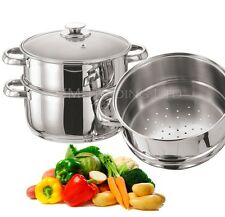 STAINLESS STEEL 3 TIER INDUCTION FOOD VEGETABLE STEAMER COOKER VENTED GLASS LID
