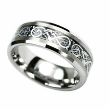 Tungsten Carbide Comfort Fit Flat Men Black Inlay Celtic Dragon Ring Band 8mm