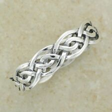 Irish CELTIC KNOTWORK Band Silver Ring Size N P R T - Made in Ireland Sterling