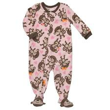 Carters Toddler Fleece Monkey N Hearts Pink Tan Brown Blanket Sleeper