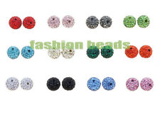 10pc Micro Pave Rhinestone Charm Disco Ball Shamballa Beads 10mm Jewelry Making