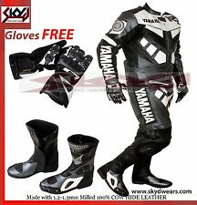 Yamaha Gray/Black Racing Leather Motorcycle suit, Shoes,Glove/  Any Logo R1,R,R6