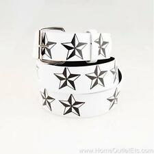 Star Printed Leather Belt Snap-On Removable Roller Buckle Unisex Mens Womens