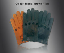NEW* MENS DRIVING GLOVES TOP QUALITY SOFT GENUINE REAL LEATHER - BLACK BROWN TAN