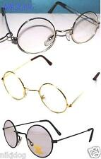 John Lennon Sunglasses Round Hippie Retro Gold Black Silver Frames Clear Lenses