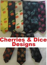 Funky Trendy Skinny Ties In Dice & Cherry Tie Designs inc Blue, Green, Red, Pink