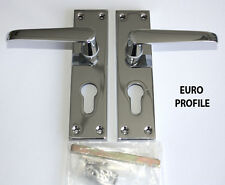 CONTRACT DOOR HANDLE Vic Straight Lock Euro Profile- Chrome-30,15,5prs available