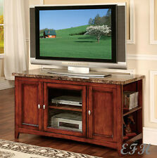NEW FINELY FAUX MARBLE TOP CHERRY OR ESPRESSO FINISH WOOD TV STAND CONSOLE
