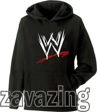 WWE LOGO UNISEX BLACK KIDS HOODIE WRESTLING SUPERSTARS DX NEXUS RAW CAGE FIGHT