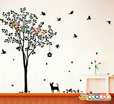 "Wall Decor Decal Sticker Removable vinyl large tree DC0223 60""H with dog birds"