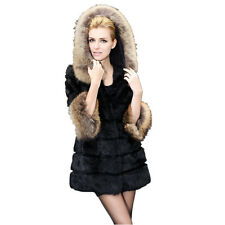 NEW Real Rabbit Fur Jacket/Coat with Raccoon Collar Hood Warm Winter QD21070