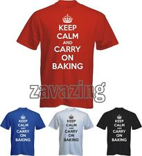 KEEP CALM AND CARRY ON BAKING MAN T-SHIRT MASTER CHEF COOK BBQ KITCHEN CUP CAKE