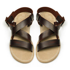 US Size 7 8 9 10 Cow Leather Casual Thong Flat men gladiator sandals shoes