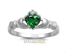 .925 Sterling Silver Claddagh Ring with Emerald CZ - Avail Sizes 4 5 6 7 8 9 10