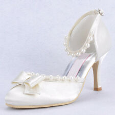 New Silk pearl beads pump Bride Wedding white Shoes mary janes womens prom shoes