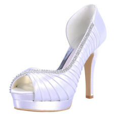 US 5-9 Fashion Silk Bead punp open toe Bridal Wedding dress porm womens shoes