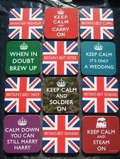 KEEP CALM or BRITAIN'S BEST ~ COASTERS GREAT GIFT TO ACCOMPANY A BIRTHDAY CARD